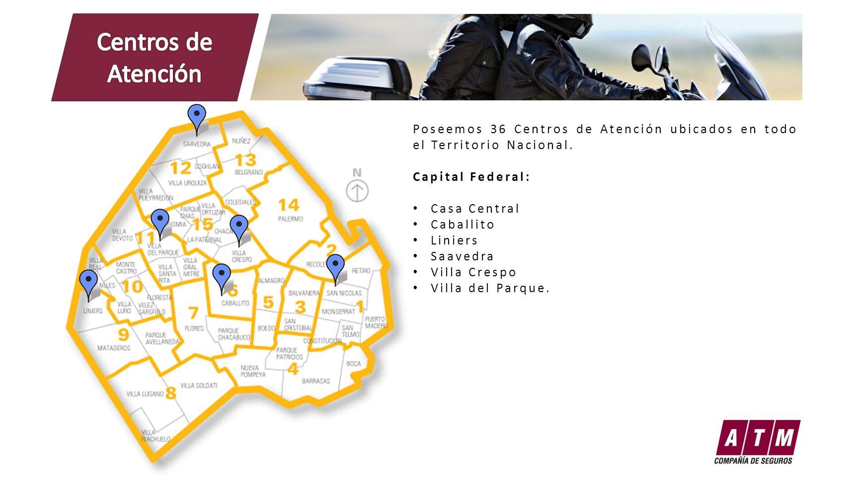 Poseemos 36 Centros de Atención ubicados en todo el Territorio Nacional. Capital Federal: Casa Central Caballito Liniers Saavedra Villa Crespo Villa d