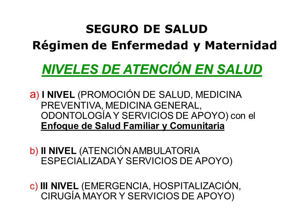 NIVELES DE ATENCIÓN EN SALUD SEGURO DE SALUD NIVELES DE ATENCIÓN EN SALUD a ) I NIVEL (PROMOCIÓN DE SALUD, MEDICINA PREVENTIVA, MEDICINA GENERAL, ODONTOLOGÍA Y SERVICIOS DE APOYO) con el Enfoque de Salud Familiar y Comunitaria b) II NIVEL (ATENCIÓN AMBULATORIA ESPECIALIZADA Y SERVICIOS DE APOYO) c) III NIVEL (EMERGENCIA, HOSPITALIZACIÓN, CIRUGÍA MAYOR Y SERVICIOS DE APOYO) Régimen de Enfermedad y Maternidad