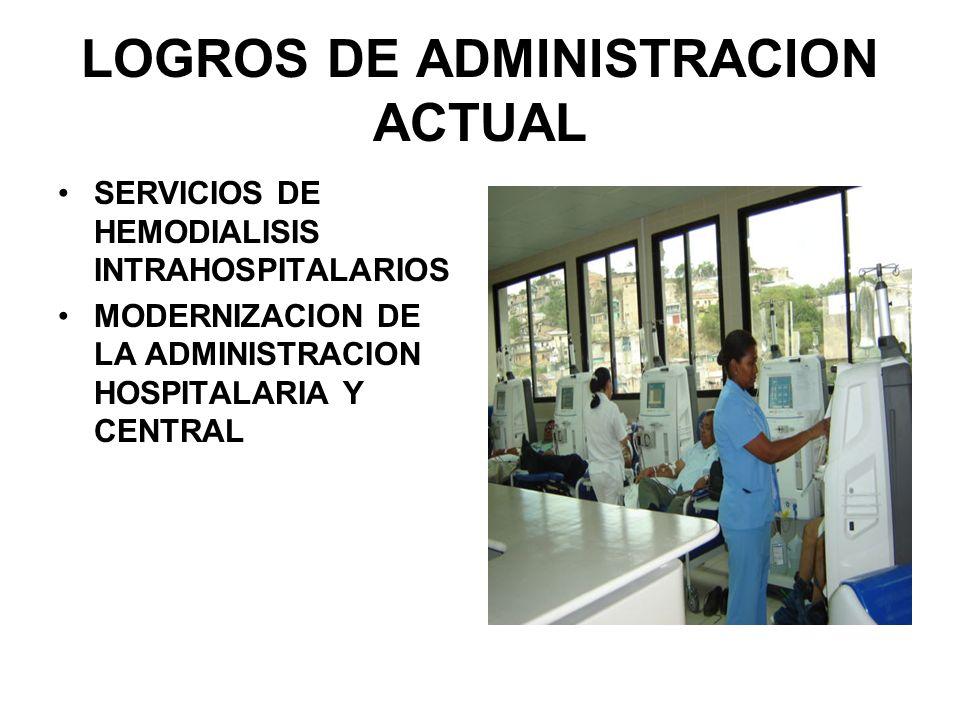 LOGROS DE ADMINISTRACION ACTUAL SERVICIOS DE HEMODIALISIS INTRAHOSPITALARIOS MODERNIZACION DE LA ADMINISTRACION HOSPITALARIA Y CENTRAL