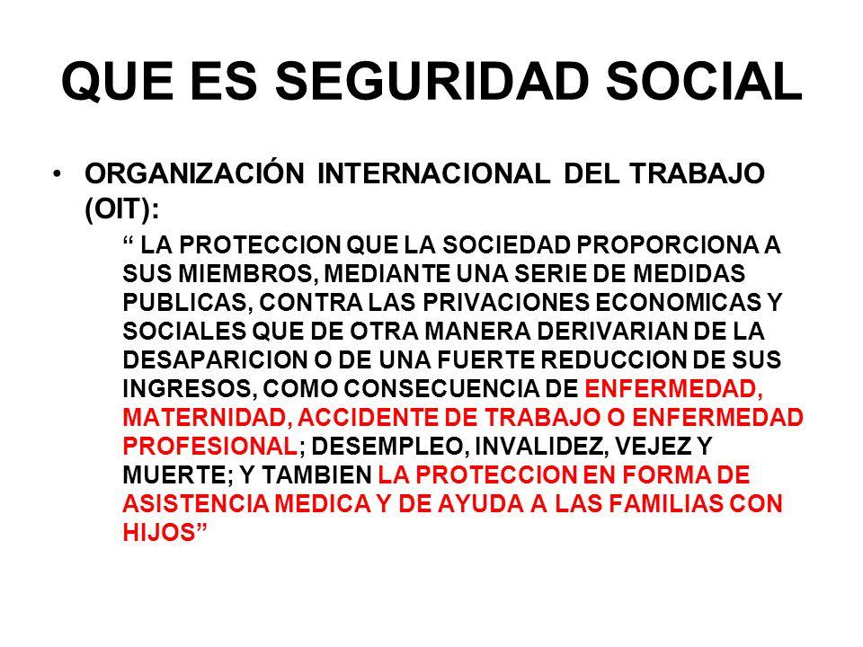 QUE ES SEGURIDAD SOCIAL ORGANIZACIÓN INTERNACIONAL DEL TRABAJO (OIT): LA PROTECCION QUE LA SOCIEDAD PROPORCIONA A SUS MIEMBROS, MEDIANTE UNA SERIE DE
