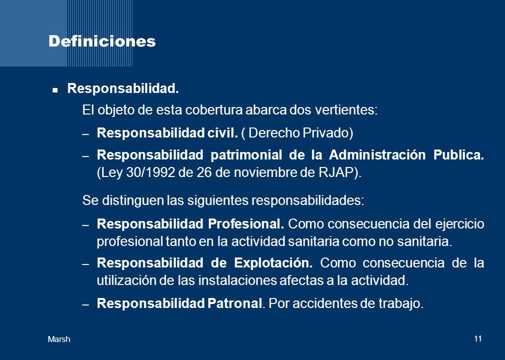 11 Marsh Definiciones Responsabilidad. El objeto de esta cobertura abarca dos vertientes: – Responsabilidad civil. ( Derecho Privado) – Responsabilida