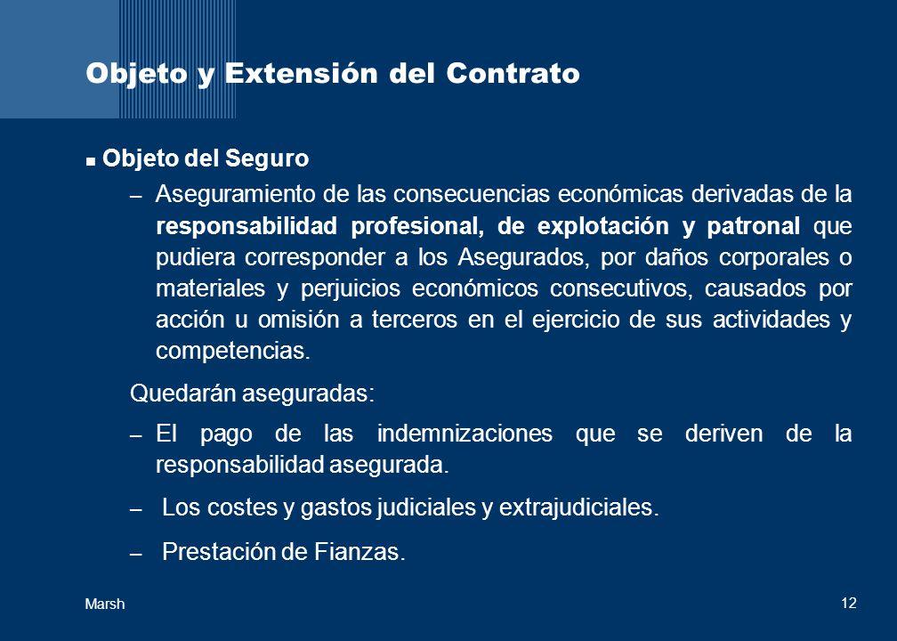 12 Marsh Objeto y Extensión del Contrato Objeto del Seguro – Aseguramiento de las consecuencias económicas derivadas de la responsabilidad profesional