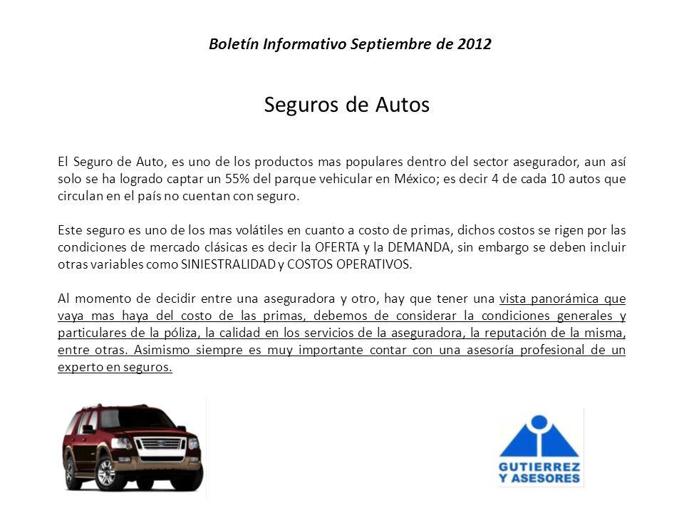 Seguros de Autos El Seguro de Auto, es uno de los productos mas populares dentro del sector asegurador, aun así solo se ha logrado captar un 55% del parque vehicular en México; es decir 4 de cada 10 autos que circulan en el país no cuentan con seguro.