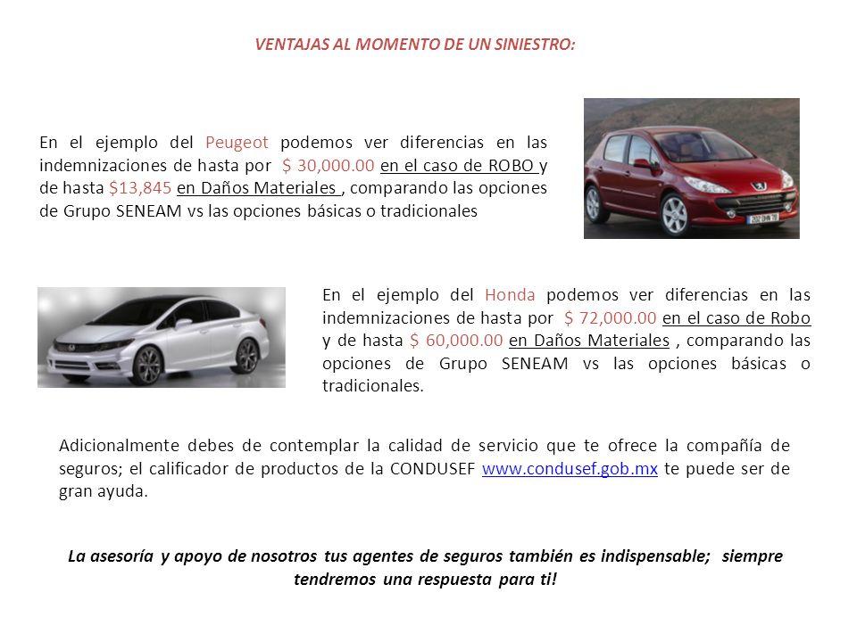 VENTAJAS AL MOMENTO DE UN SINIESTRO: En el ejemplo del Peugeot podemos ver diferencias en las indemnizaciones de hasta por $ 30,000.00 en el caso de ROBO y de hasta $13,845 en Daños Materiales, comparando las opciones de Grupo SENEAM vs las opciones básicas o tradicionales Adicionalmente debes de contemplar la calidad de servicio que te ofrece la compañía de seguros; el calificador de productos de la CONDUSEF www.condusef.gob.mx te puede ser de gran ayuda.www.condusef.gob.mx La asesoría y apoyo de nosotros tus agentes de seguros también es indispensable; siempre tendremos una respuesta para ti.