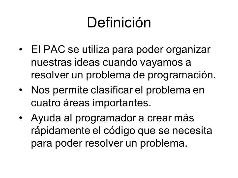Definición El PAC se utiliza para poder organizar nuestras ideas cuando vayamos a resolver un problema de programación.