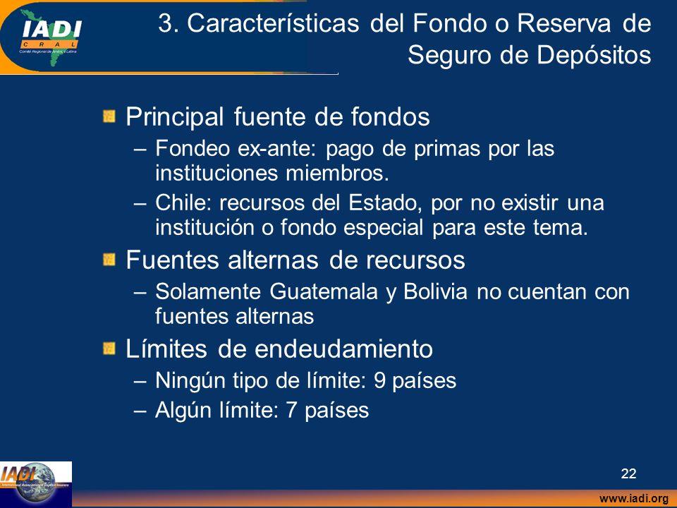 www.iadi.org 22 3. Características del Fondo o Reserva de Seguro de Depósitos Principal fuente de fondos –Fondeo ex-ante: pago de primas por las insti