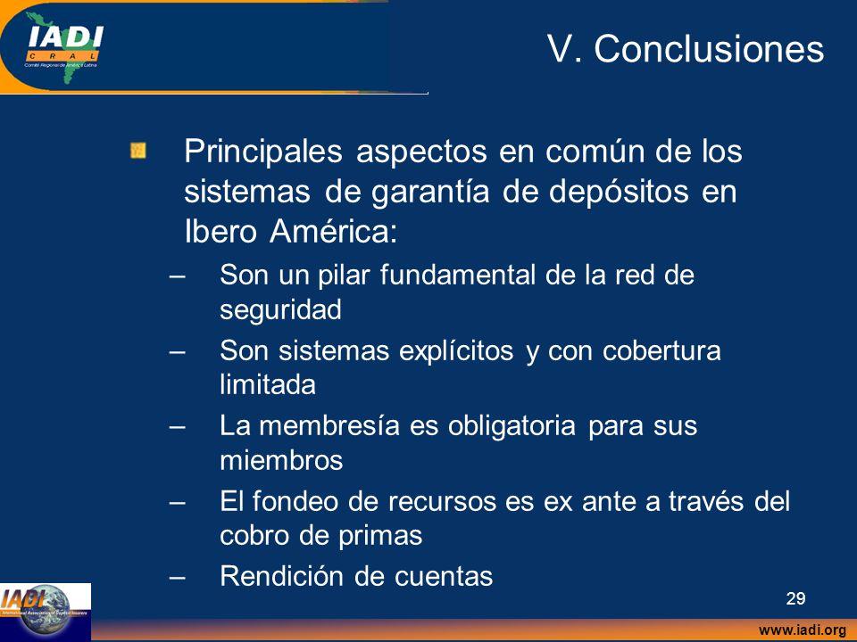 www.iadi.org 29 V. Conclusiones Principales aspectos en común de los sistemas de garantía de depósitos en Ibero América: –Son un pilar fundamental de