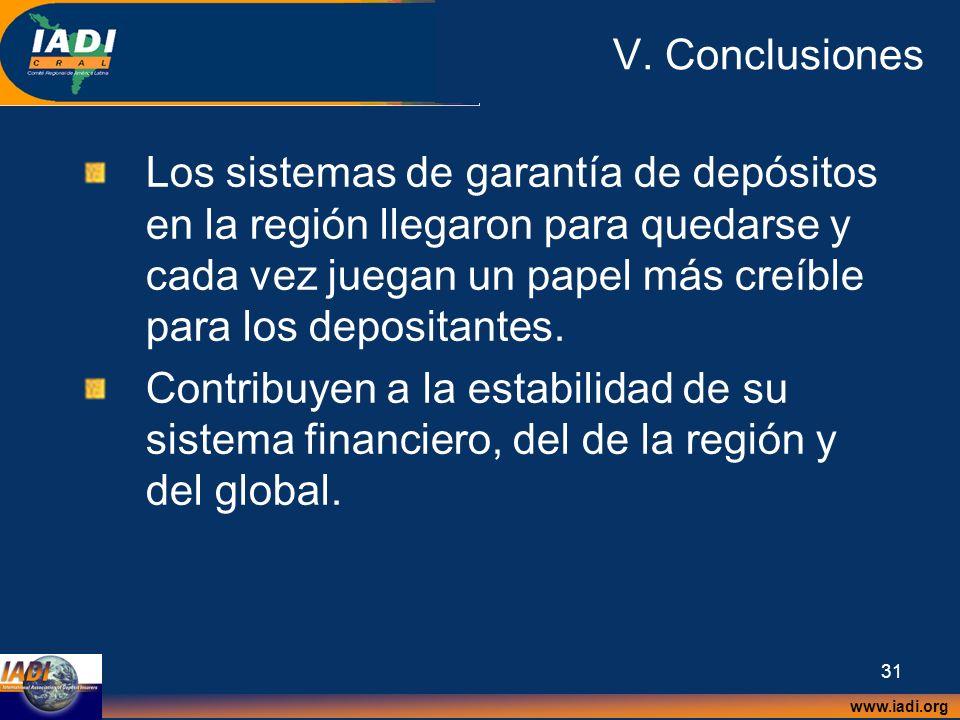 www.iadi.org 31 V. Conclusiones Los sistemas de garantía de depósitos en la región llegaron para quedarse y cada vez juegan un papel más creíble para