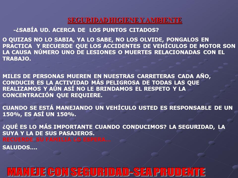 SEGURIDAD HIGIENE Y AMBIENTE -¿SABÍA UD.ACERCA DE LOS PUNTOS CITADOS.