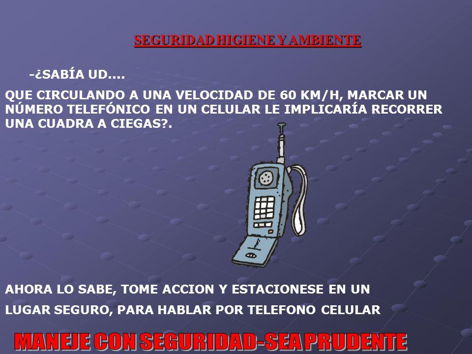 SEGURIDAD HIGIENE Y AMBIENTE -¿SABÍA UD....