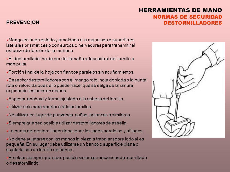HERRAMIENTAS DE MANO NORMAS DE SEGURIDAD DESTORNILLADORES PREVENCIÓN Mango en buen estado y amoldado a la mano con o superficies laterales prismáticas