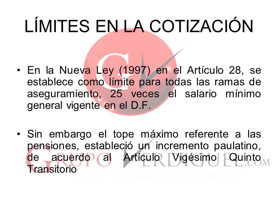 LÍMITES EN LA COTIZACIÓN Sin embargo la entrada en vigor de la Nueva Ley se difirió para el 1 de Julio de 1997, emitiéndose un Acuerdo del H.
