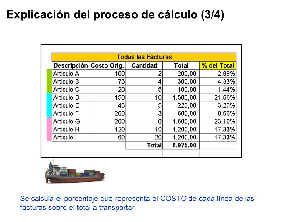 Explicación del proceso de cálculo (3/4) Se calcula el porcentaje que representa el COSTO de cada línea de las facturas sobre el total a transportar