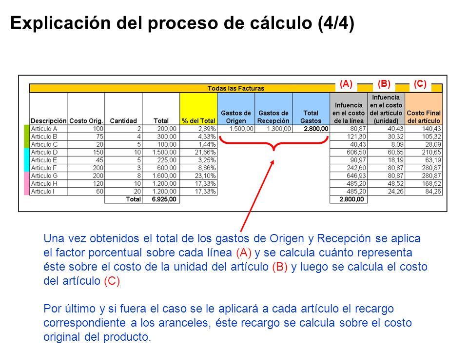Explicación del proceso de cálculo (4/4) Una vez obtenidos el total de los gastos de Origen y Recepción se aplica el factor porcentual sobre cada líne