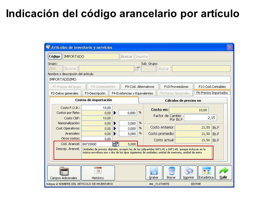 Indicación del código arancelario por artículo