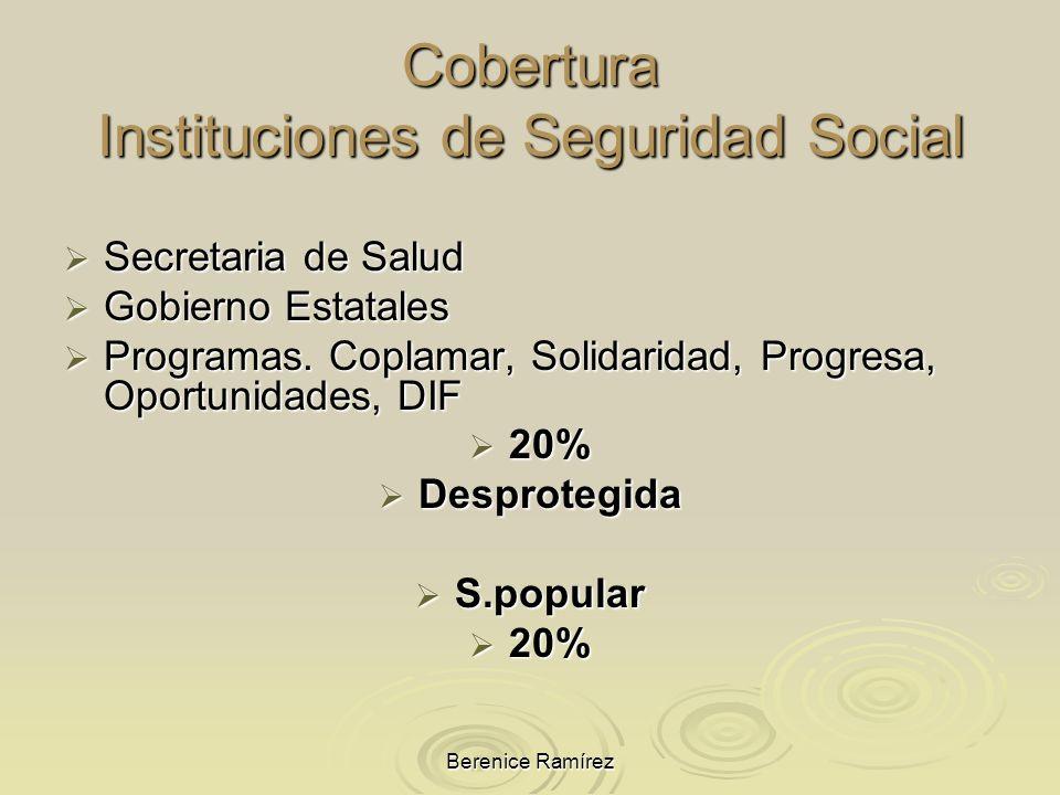Berenice Ramírez Cobertura Instituciones de Seguridad Social Secretaria de Salud Secretaria de Salud Gobierno Estatales Gobierno Estatales Programas.