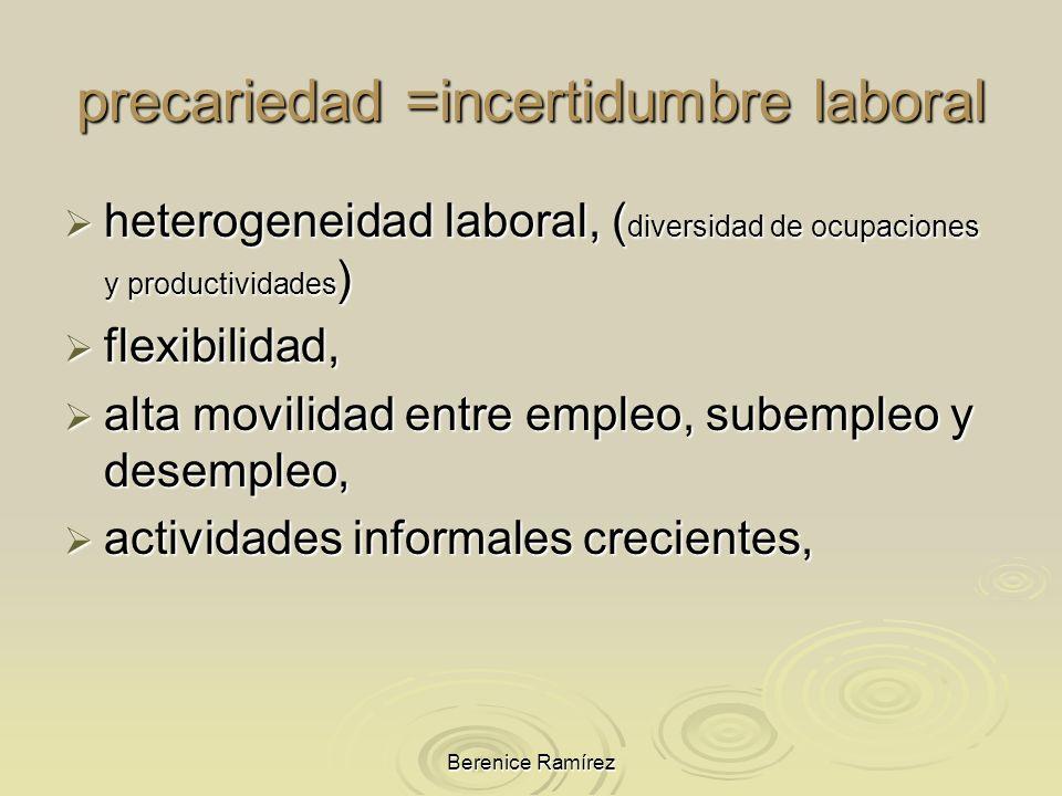 Berenice Ramírez heterogeneidad laboral, ( diversidad de ocupaciones y productividades ) heterogeneidad laboral, ( diversidad de ocupaciones y product