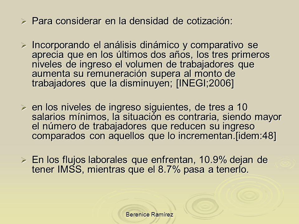 Berenice Ramírez Para considerar en la densidad de cotización: Para considerar en la densidad de cotización: Incorporando el análisis dinámico y compa