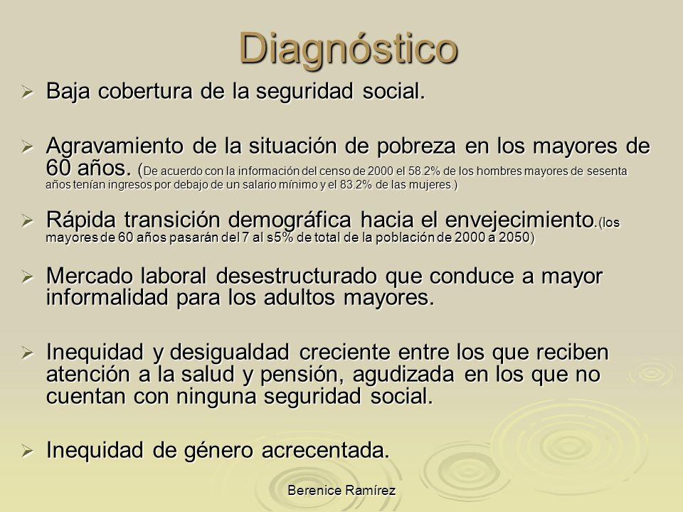 Berenice Ramírez Diagnóstico Baja cobertura de la seguridad social. Baja cobertura de la seguridad social. Agravamiento de la situación de pobreza en