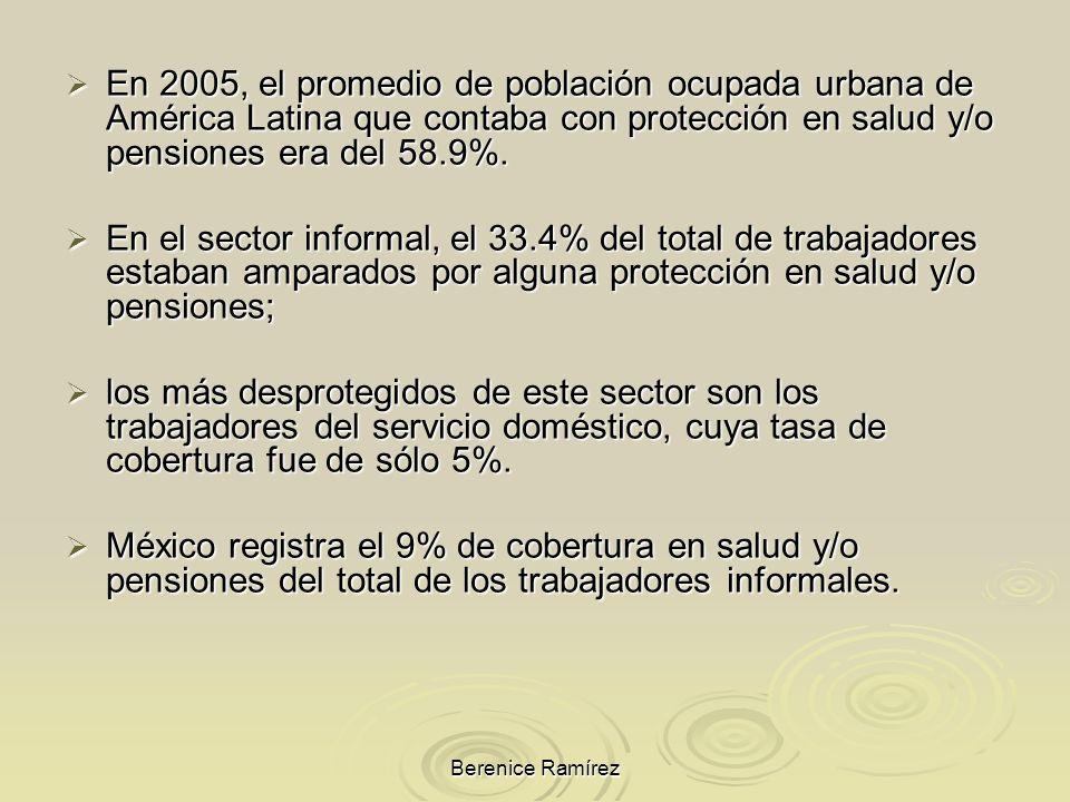 Berenice Ramírez En 2005, el promedio de población ocupada urbana de América Latina que contaba con protección en salud y/o pensiones era del 58.9%. E