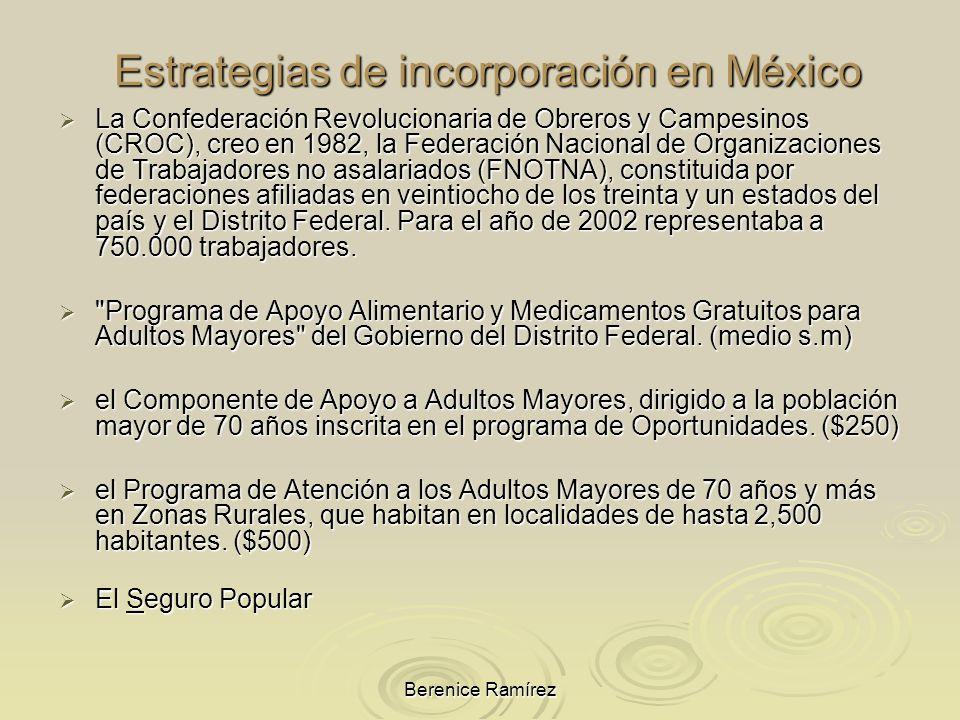Berenice Ramírez Estrategias de incorporación en México La Confederación Revolucionaria de Obreros y Campesinos (CROC), creo en 1982, la Federación Na