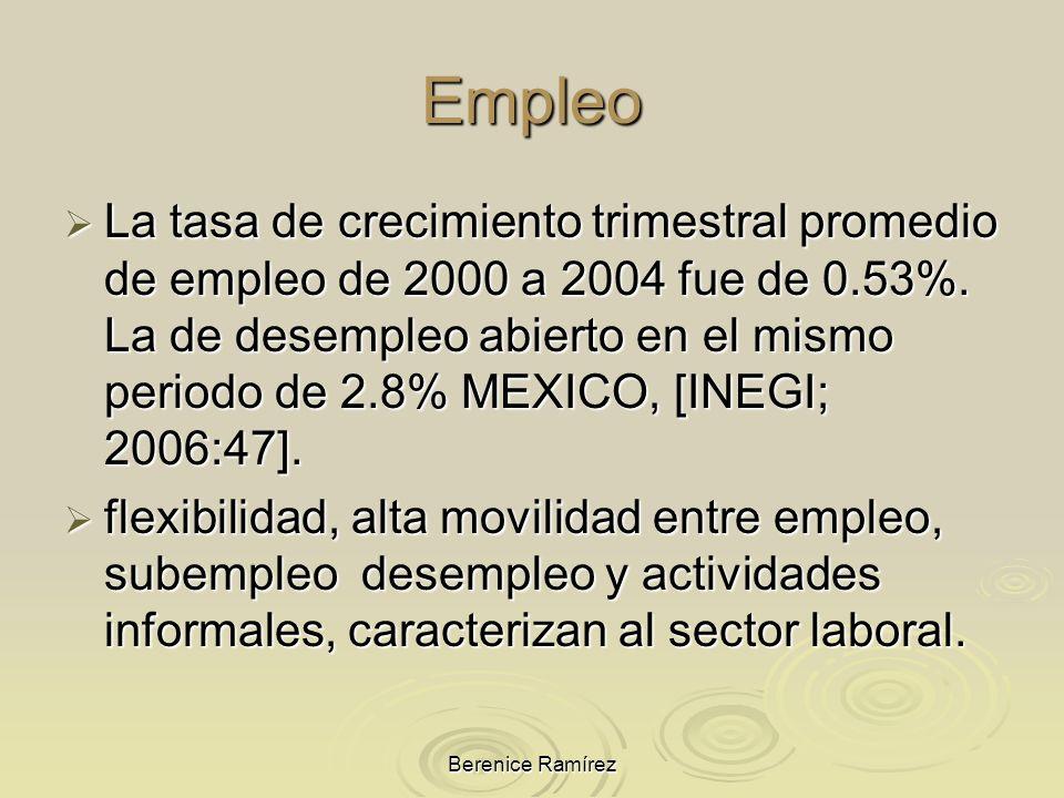 Berenice Ramírez Empleo La tasa de crecimiento trimestral promedio de empleo de 2000 a 2004 fue de 0.53%. La de desempleo abierto en el mismo periodo