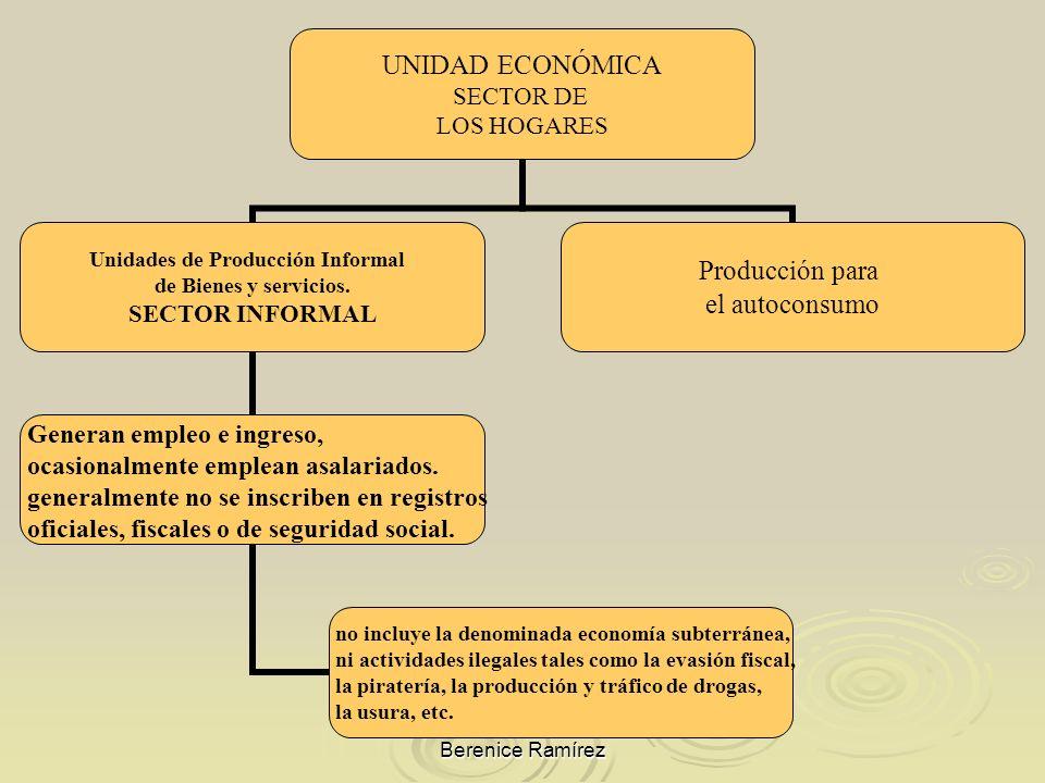 Berenice Ramírez UNIDAD ECONÓMICA SECTOR DE LOS HOGARES Unidades de Producción Informal de Bienes y servicios. SECTOR INFORMAL Generan empleo e ingres