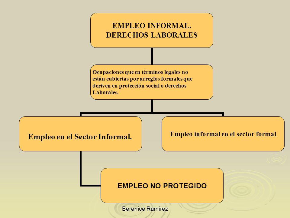 Berenice Ramírez EMPLEO INFORMAL. DERECHOS LABORALES Ocupaciones que en términos legales no están cubiertas por arreglos formales que deriven en prote