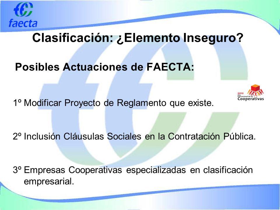Posibles Actuaciones de FAECTA: 1º Modificar Proyecto de Reglamento que existe.