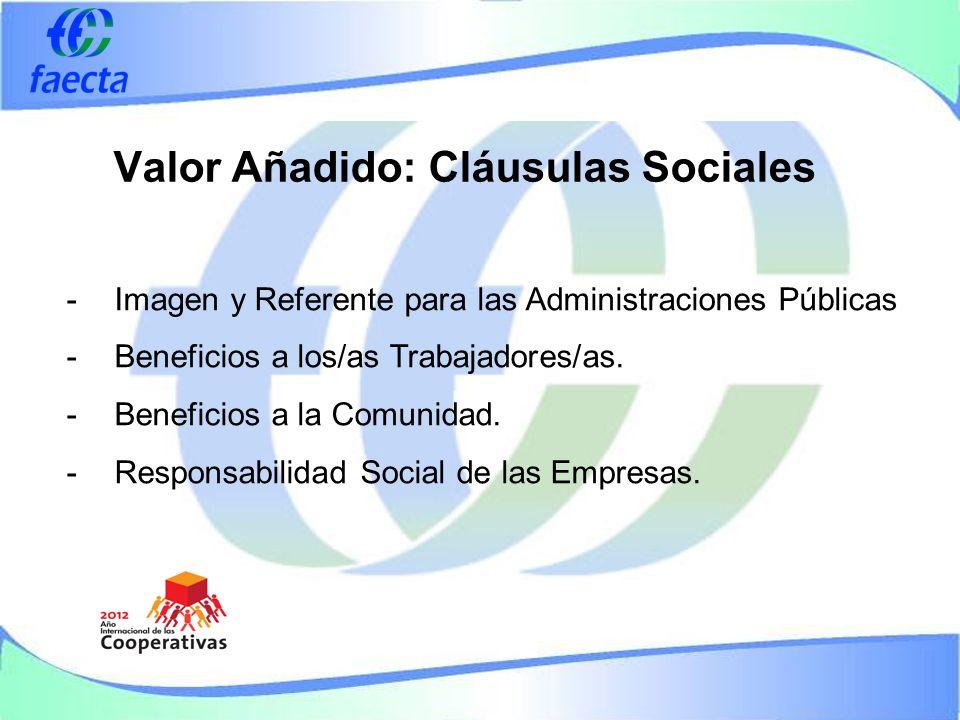Valor Añadido: Cláusulas Sociales -Imagen y Referente para las Administraciones Públicas -Beneficios a los/as Trabajadores/as.