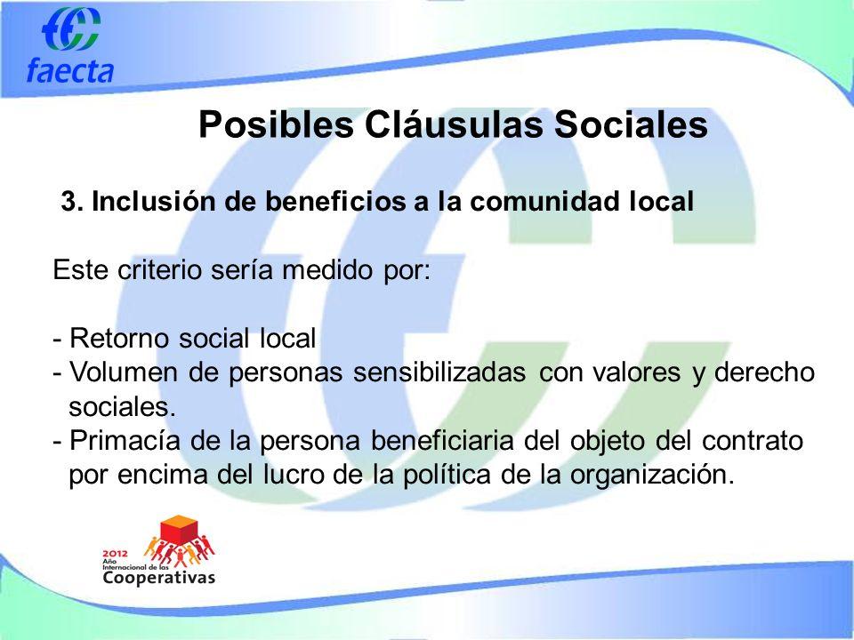 Posibles Cláusulas Sociales 3.