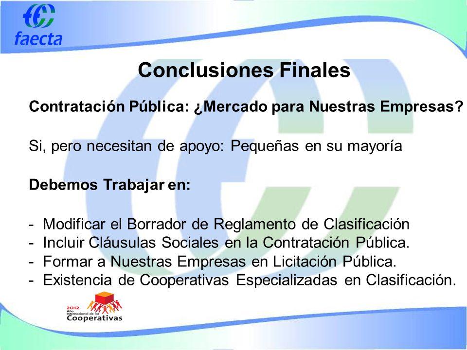 Conclusiones Finales Contratación Pública: ¿Mercado para Nuestras Empresas.
