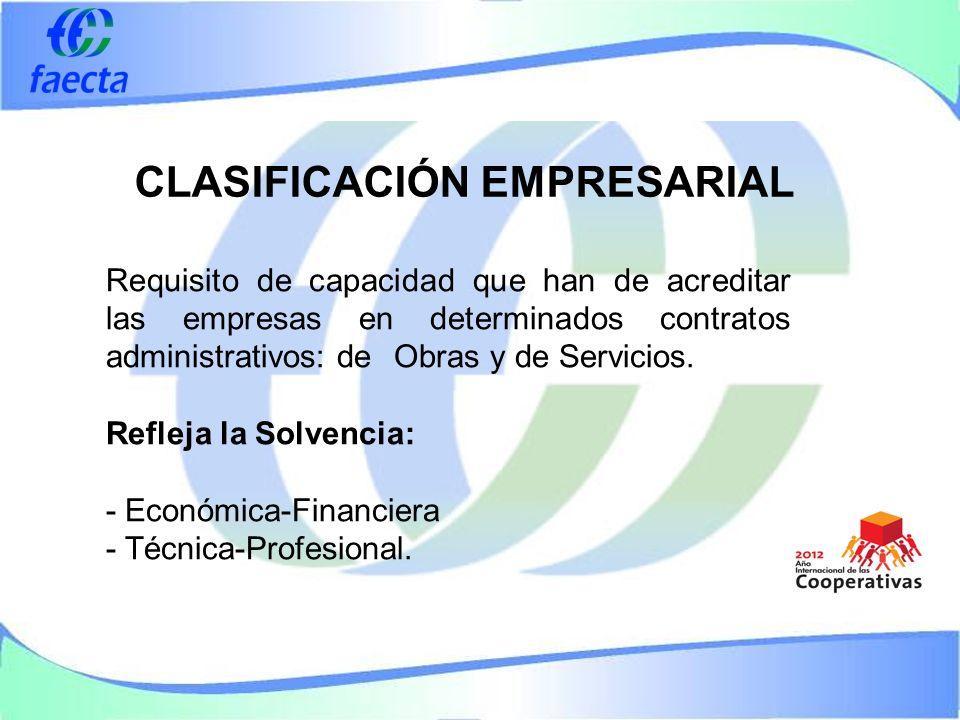 CLASIFICACIÓN EMPRESARIAL Requisito de capacidad que han de acreditar las empresas en determinados contratos administrativos: de Obras y de Servicios.