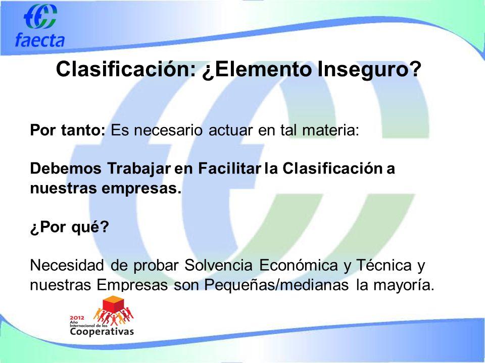 Por tanto: Es necesario actuar en tal materia: Debemos Trabajar en Facilitar la Clasificación a nuestras empresas.