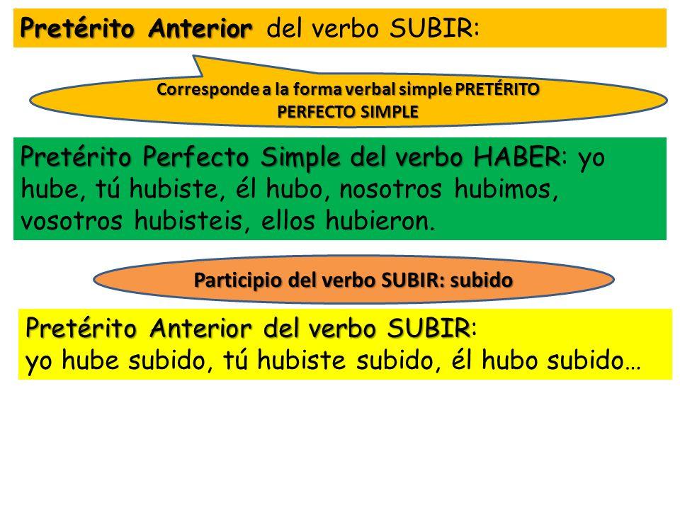 Pretérito Anterior Pretérito Anterior del verbo SUBIR: Pretérito Perfecto Simple del verbo HABER Pretérito Perfecto Simple del verbo HABER: yo hube, t