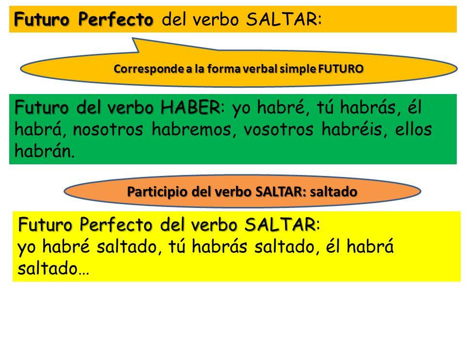 Futuro Perfecto Futuro Perfecto del verbo SALTAR: Futuro del verbo HABER Futuro del verbo HABER: yo habré, tú habrás, él habrá, nosotros habremos, vos