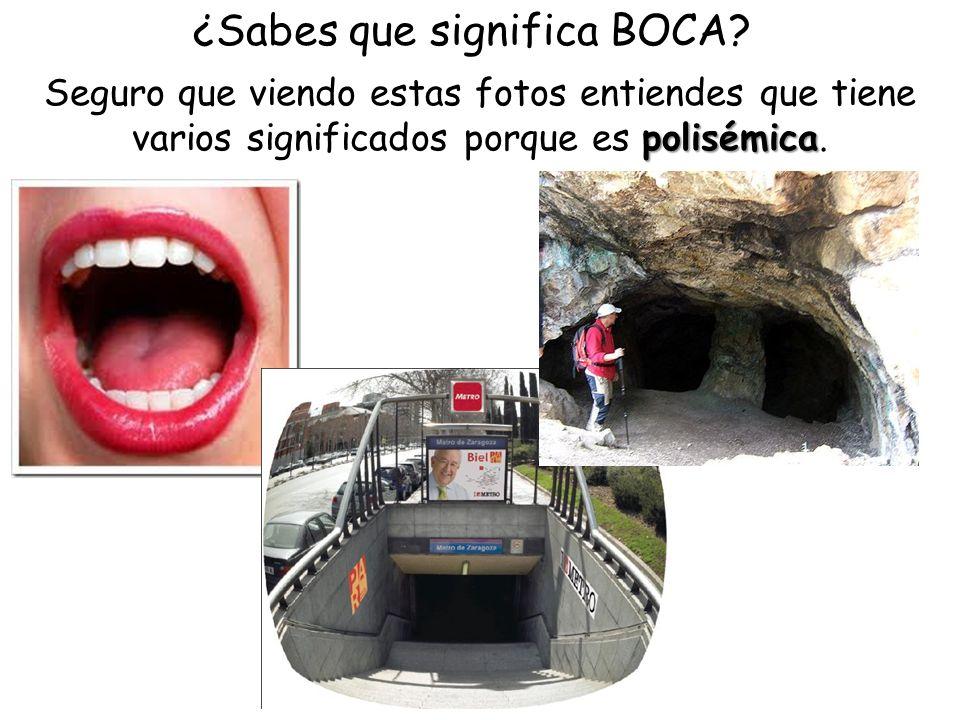 ¿Sabes que significa BOCA? polisémica Seguro que viendo estas fotos entiendes que tiene varios significados porque es polisémica.