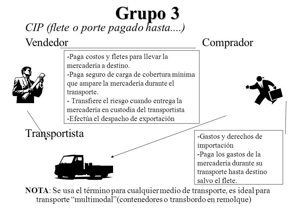 Grupo 3 CIP (flete o porte pagado hasta....) VendedorComprador Transportista NOTA: Se usa el término para cualquier medio de transporte, es ideal para