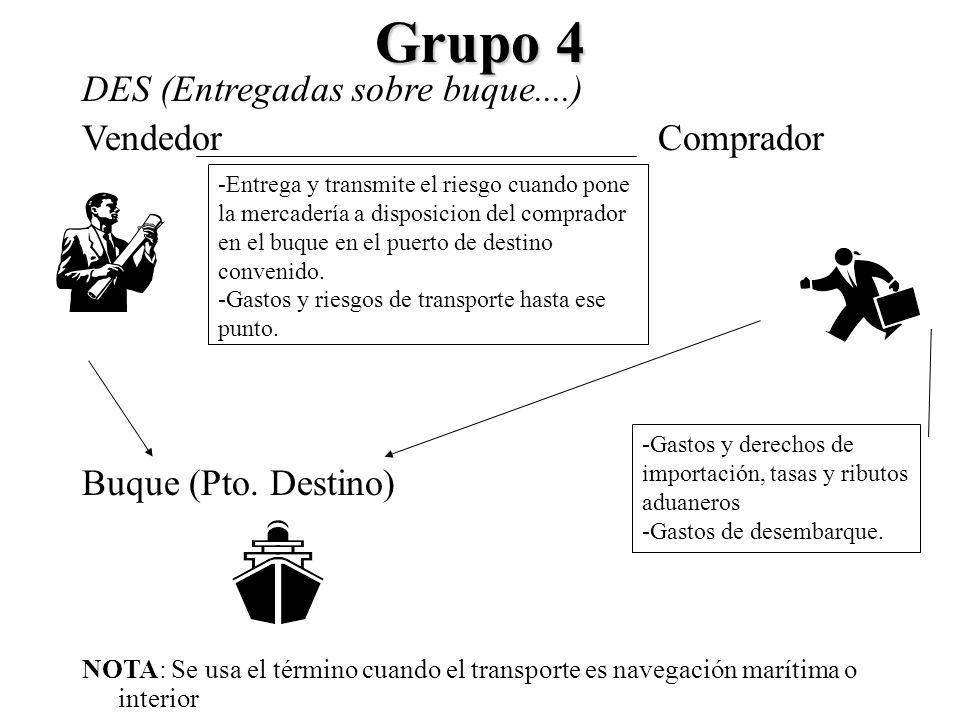 Grupo 4 DES (Entregadas sobre buque....) VendedorComprador Buque (Pto. Destino) NOTA: Se usa el término cuando el transporte es navegación marítima o