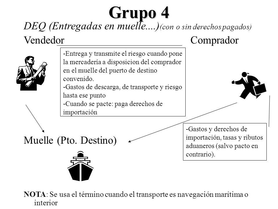 Grupo 4 DEQ (Entregadas en muelle....) (con o sin derechos pagados) VendedorComprador Muelle (Pto. Destino) NOTA: Se usa el término cuando el transpor