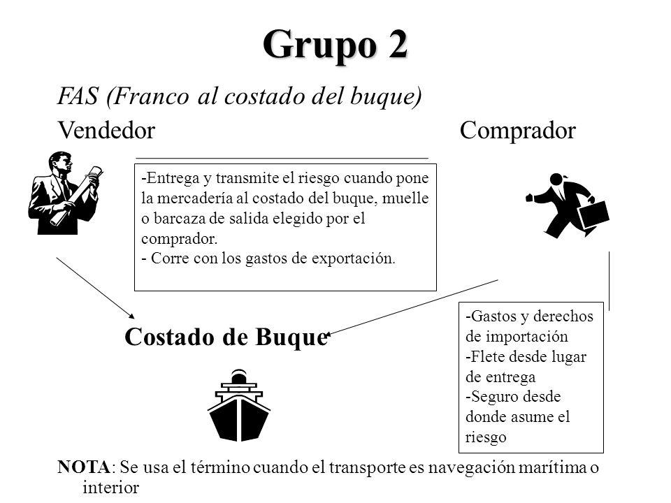 Grupo 2 FAS (Franco al costado del buque) VendedorComprador Costado de Buque NOTA: Se usa el término cuando el transporte es navegación marítima o int