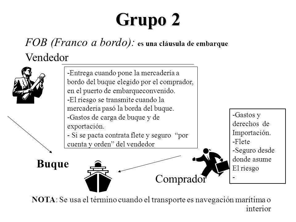 Grupo 2 FOB (Franco a bordo): es una cláusula de embarque Vendedor Buque Comprador NOTA: Se usa el término cuando el transporte es navegación marítima