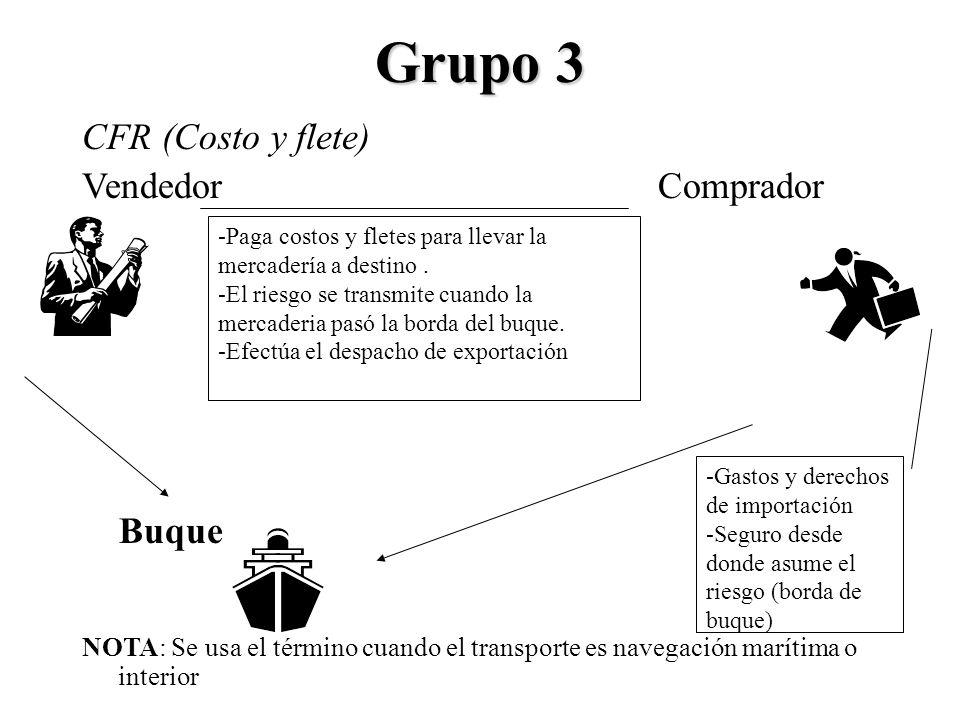 Grupo 3 CFR (Costo y flete) VendedorComprador Buque NOTA: Se usa el término cuando el transporte es navegación marítima o interior -Paga costos y flet
