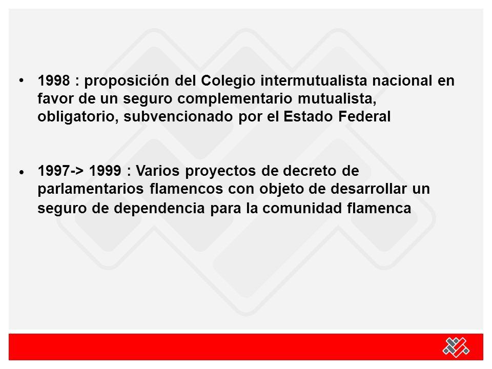 1998 : proposición del Colegio intermutualista nacional en favor de un seguro complementario mutualista, obligatorio, subvencionado por el Estado Federal 1997-> 1999 : Varios proyectos de decreto de parlamentarios flamencos con objeto de desarrollar un seguro de dependencia para la comunidad flamenca