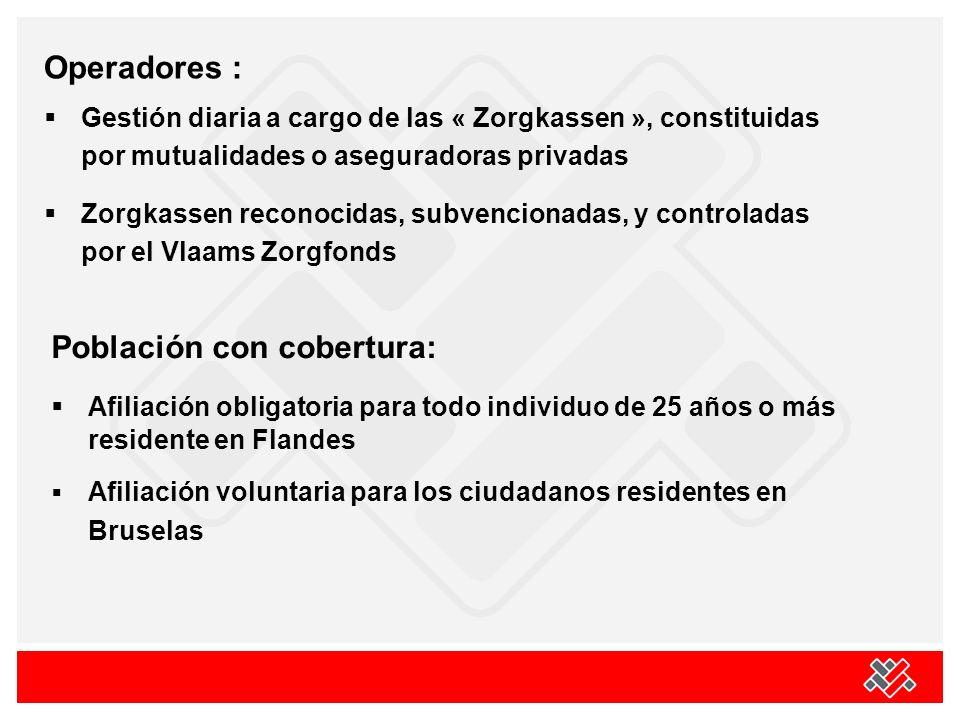 Operadores : Gestión diaria a cargo de las « Zorgkassen », constituidas por mutualidades o aseguradoras privadas Zorgkassen reconocidas, subvencionada