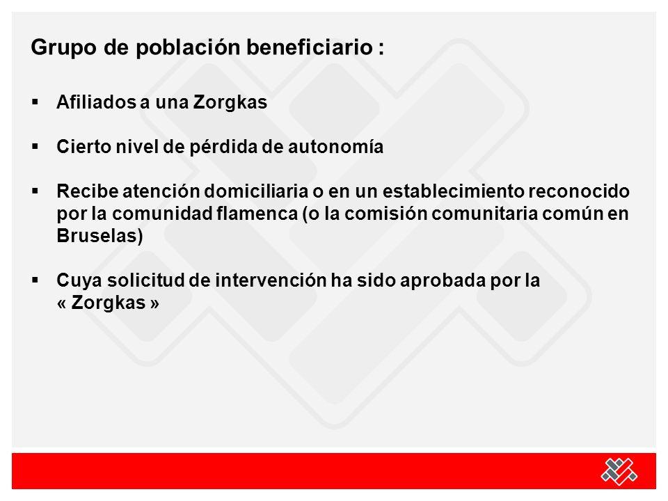 Grupo de población beneficiario : Afiliados a una Zorgkas Cierto nivel de pérdida de autonomía Recibe atención domiciliaria o en un establecimiento reconocido por la comunidad flamenca (o la comisión comunitaria común en Bruselas) Cuya solicitud de intervención ha sido aprobada por la « Zorgkas »
