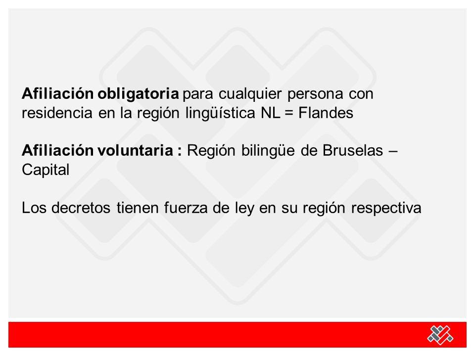 Afiliación obligatoria para cualquier persona con residencia en la región lingüística NL = Flandes Afiliación voluntaria : Región bilingüe de Bruselas