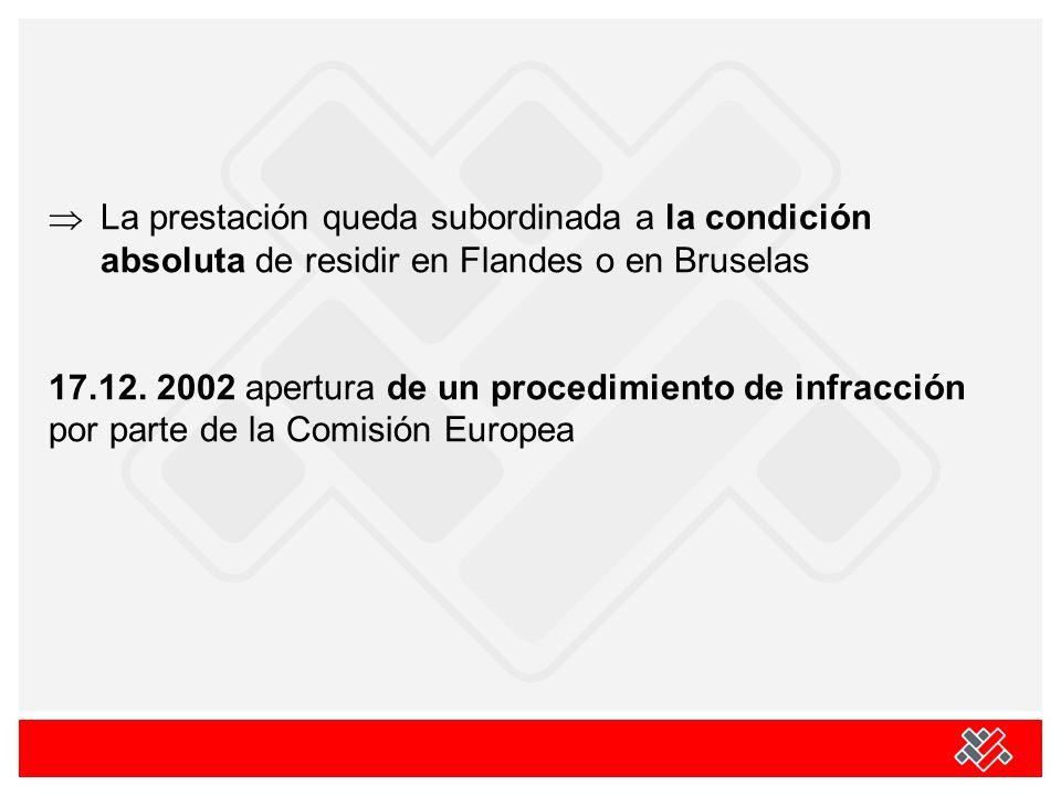 La prestación queda subordinada a la condición absoluta de residir en Flandes o en Bruselas 17.12. 2002 apertura de un procedimiento de infracción por