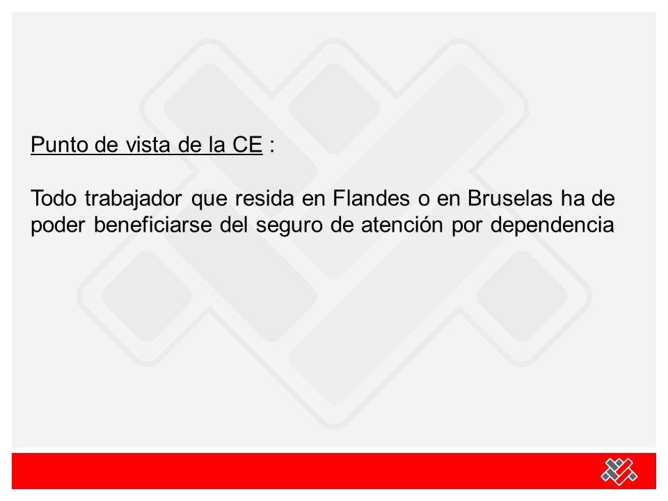 Punto de vista de la CE : Todo trabajador que resida en Flandes o en Bruselas ha de poder beneficiarse del seguro de atención por dependencia