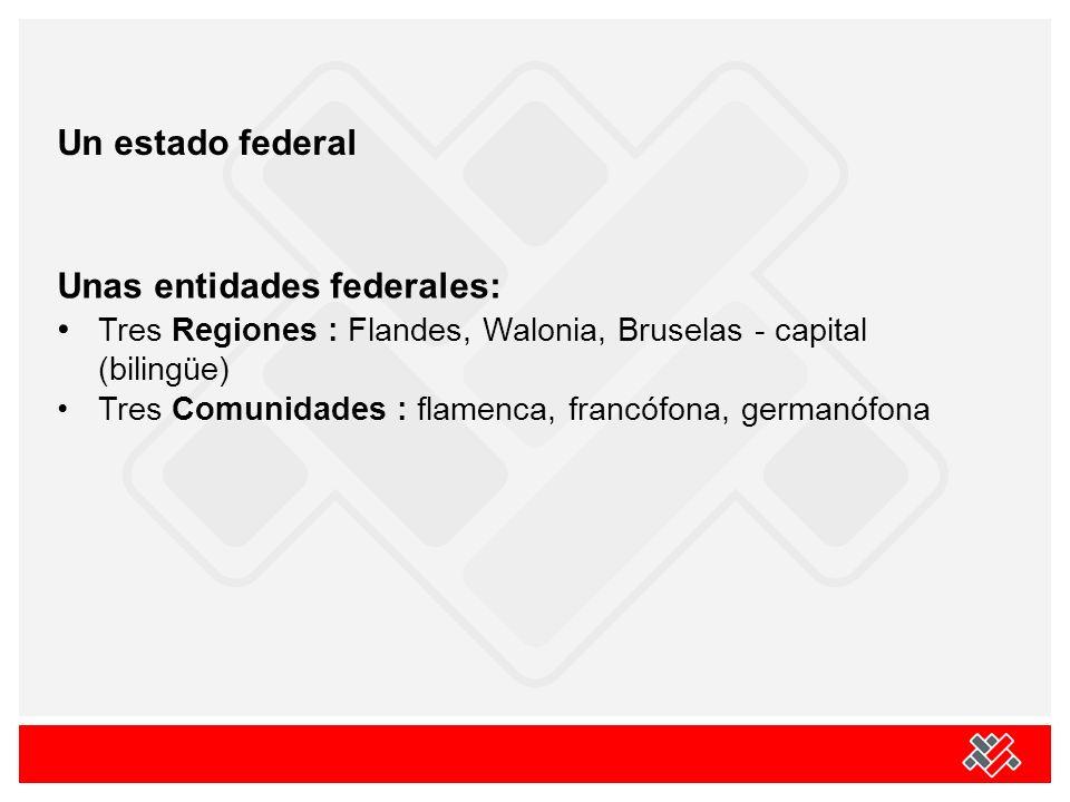 Un estado federal Unas entidades federales: Tres Regiones : Flandes, Walonia, Bruselas - capital (bilingüe) Tres Comunidades : flamenca, francófona, g